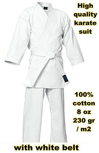 mmasport - Kimono de Karate 100% algodón, 230 g, Bianco, 2/150 cm