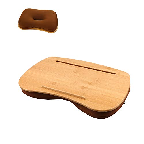 SUMISKY Mesa portátil de regazo con plataforma de bambú para teléfono móvil, cojín antideslizante para cama y sofá (tamaño mediano)