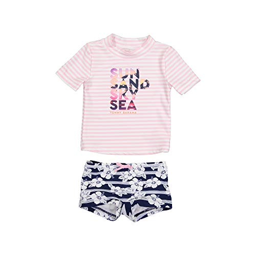 Tommy Bahama Girls' Baby 2-Piece Shirt and Bikini Bottom Swim Set, Navy Pink, 12 Months