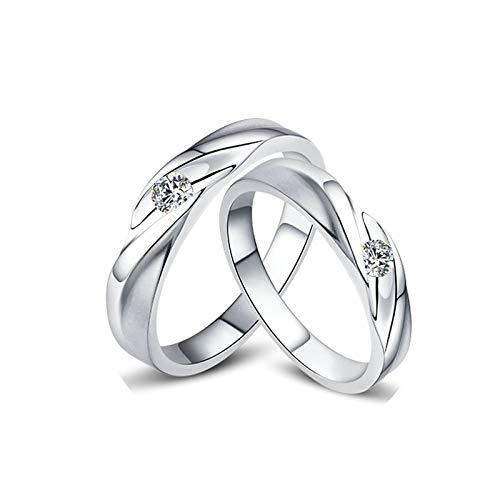 Bishilin 2 Piezas de Anillos de Pareja 18K Oro Blanco Mujer Talla 15 & Hombre Talla 22 Forma Retorcida Blanco Redonda Diamante Anillo de Compromiso de Aniversario Clásico Oro Blanco