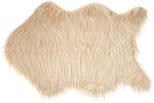 Soft Faux Sheepskin Lamb Fur Chair Cover, Seat Cover, Area Rug, Mat, Baby Blanket, 2 x 3 Feet - Natural (Oatmeal, Beige, Tan,