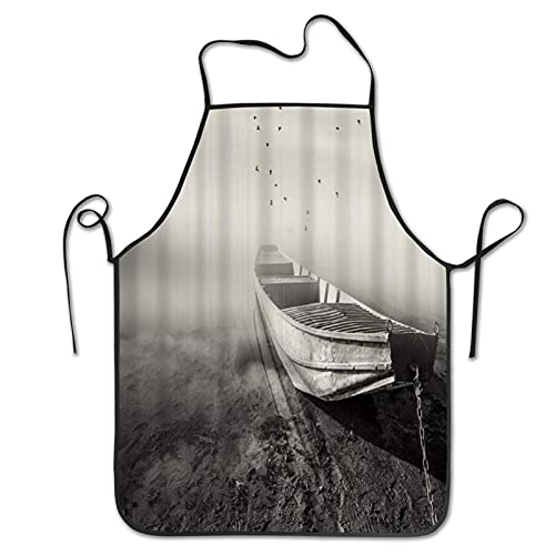 ADONINELP Delantal de cocina Barco Pájaros Fotografía en blanco y negro, Delantal de cocina para cocinar y Delantal para cocinar Parrilla Hornear Cocina Elaboración de barbacoa al aire libre