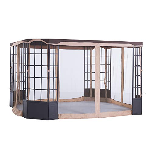 Sunjoy A111504900 Original Replacement Mosquito Netting for Terrace Gazebo (10X12 Ft) L-GZ454PST-C Sold at Sears&Kmart, Dark Brown