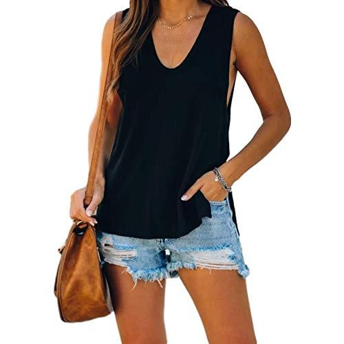 Camiseta de Chaleco de Verano para Mujer Moda Color slido Salvaje Casual y cmodo Inicio Camiseta Deportiva sin Mangas Suelta L
