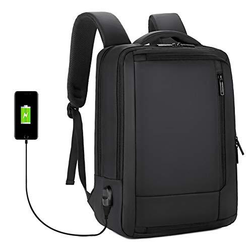Mochila Negocio Viaje Impermeabl para portatil Ordenador 17 Pulgadas, Multiusos Mochila Daypacks Universidad con Puerto de Carga USB, Hombres, Negro