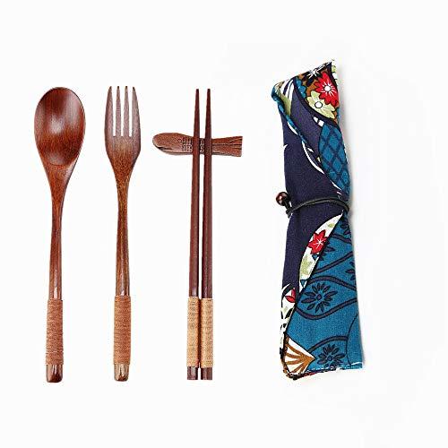Ecloud Shop Hecho a Mano Estilo Japonés Alimentación de madera natural Conjunto (1 cuchara, 1 palillos, 1 tenedor, 1 soporte de palitos, 1 Patrón Vajilla bolsa de estilo japonés Azul Negro)