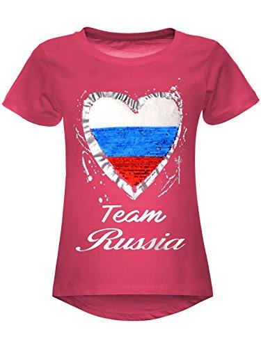 BEZLIT Mädchen WM 2018 T-Shirt Russia Wende-Pailletten Russland Herz 22737 Pink Größe 116