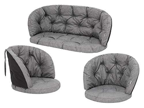 Cuscino per sedia in rattan, per panca, altalena, da giardino, per dondolo, cuscino per sdraio, cuscino da riposo, 2 + 1, grafite