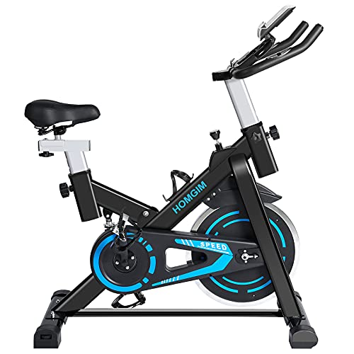 HOMGIM Indoor Cycling Bike Stationary Magnetic Resistance Exercise Cycle Bike with Dual Flywheel, Adjustable Seat&Handlebar/IPAD Holder/Heart Monitor/LCD Monitor for Home Office Cardio Workout