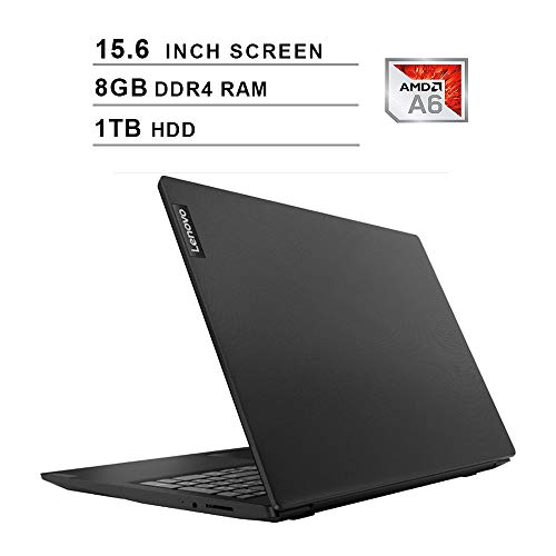 2020 Premium Lenovo IdeaPad S145 15.6 Inch Laptop, AMD APU A6-9225 up to 3.0 GHz, AMD Radeon R4, 8GB DDR4 RAM, 1TB HDD, WiFi, Bluetooth, HDMI, Webcam, Windows 10 Home, Black