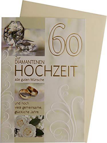 Horn Glückwunschkarte 60 zur Diamantenen Hochzeit 73-H1001