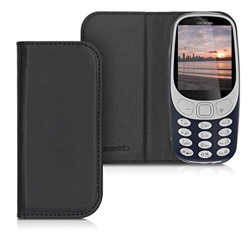 kwmobile Nokia 3310 (2017) Hülle - Kunstleder Handy Schutzhülle - Flip Cover Case für Nokia 3310 (2017) - Schwarz