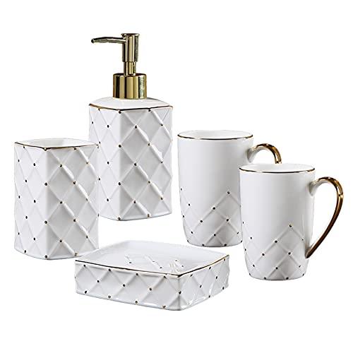 Dosificador Jabon Cuarto de baño Conjunto de dientes de cerámica de 5 piezas Dispensador de jabón de 5 piezas Decoración para el hogar Conjunto de aseo Loción Botella / Taza de boca / Tenedor de cepil