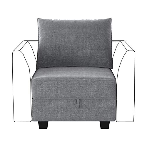 HONBAY Modern Fabric Middle Module for Modular Sofa Customizable Sectional Sofa Couch Accent Armless Chair, Grey