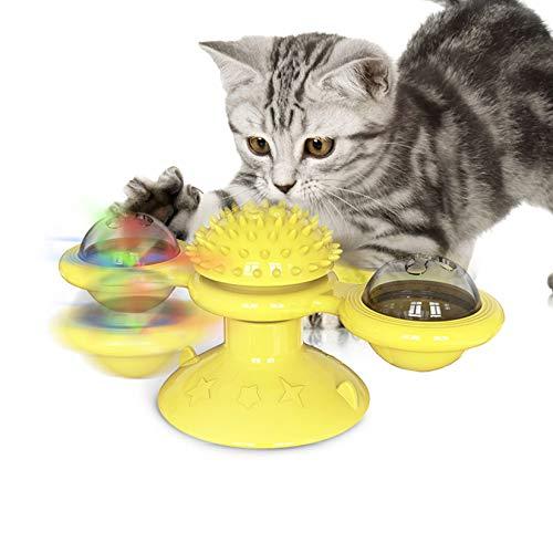GothicBride Juguetes para Gatos, Juguete Gato Interactivos Giratorio Windmill Cat Toy con Catnip y Bola Intermitente LED Plato Giratorio