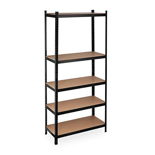 Relaxdays Schwerlastregal XL, Traglast 1325 kg, 220x100x45 cm, 5 Böden, zum Stecken, Stahl, für Keller & Garage, schwarz