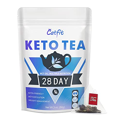 Keto Detox Tea for Weight Loss, Belly Fat and Colon Cleanse - Organic Herbal Skinny Tea, Diet Slim Tea with MCT Oil - Fat Burners for Women and Men - 28 Day