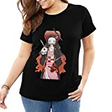 Camiseta de manga corta con cuello redondo para mujer Kamado Nezuko Ghost Killed Team Shirt Funny Short Sleeve Tshirt Slim Fit Negro