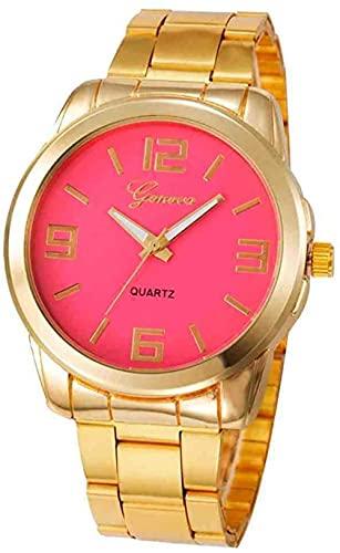 JZDH Mano Reloj Reloj de Pulsera Mujeres DE Lujo Relojes Pulsera Rosa Dorado Cuarzo Acero Inoxidable Ladies Relojes de Pulsera Reloj Hembras Relojes Decorativos Casuales (Color : Watermelon Red)