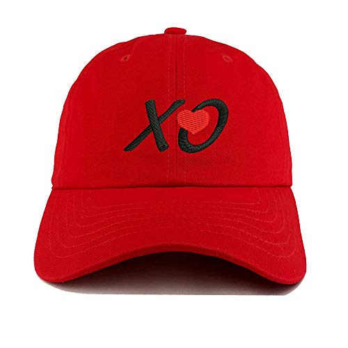 Red Baseball Hats Embroidered Cap Embroidery Snapback Hat Funny XO Love