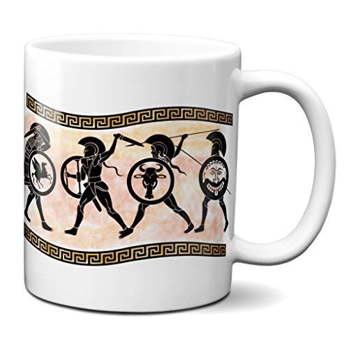 Planetacase Taza Antigua Grecia Soldados hoplitas Atenas Esparta cerámica Griega 330 mL