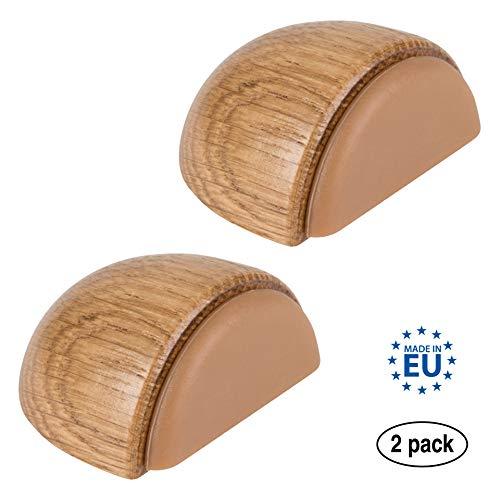 LouMaxx Türstopper Boden selbstklebend Holz, 2er Set - Türstopper Boden - Türstopper zum kleben - Türstopper Boden selbstklebend - Türstopper kleben - Selbstklebende Türstopper in Eiche–Optik