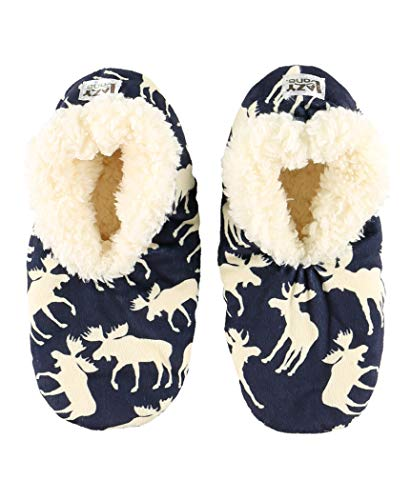 Lazy One Fuzzy Feet Slippers for Women, Cute Fleece-Lined House Slippers, Moose, Blue, Non-Skid