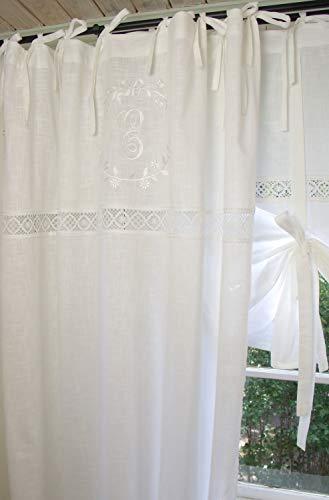 LillaBelle Vorhang Emilia WEIß Gardine 140x250 cm 2 STÜCK Bestickt Spitze Baumwolle