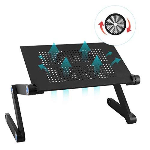 JYKOO Einstellbare Laptop Stand, Laptop Desk Riser mit Lüfter und Maus Board Faltbare Computer Laptop-Tabelle für Bettsofa