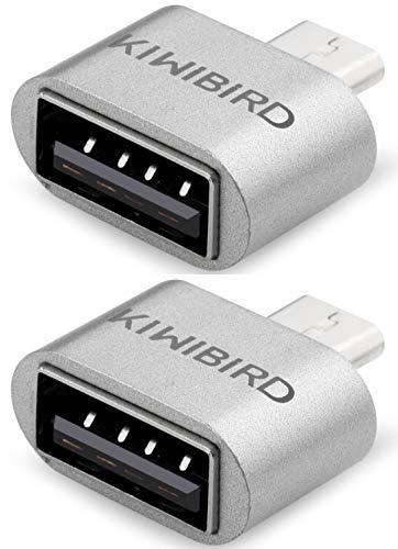 KiWiBiRD Micro USB (männlich) zu USB A 2.0 (weiblich) High Speed OTG Adapter USB auf Mikro USB Stecker Kompatibel mit Android Smartphones/Tablets mit OTG Funktion - 2er Pack