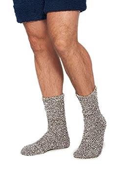 Barefoot Dreams CozyChic Heathered Men s Socks  CHARCOAL/WHITE