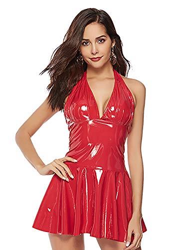 Freebily Mini Vestido de Cuero Sexy Mujer Vestido Ajustado de Club Ropa Erotica Falda de Charol Latex Wetlook Body Picardias Bodycon Clubwear Rojo M