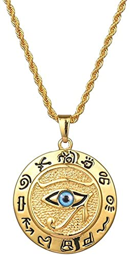 ZGYFJCH Co.,ltd Collar Antiguo Egipto El Ojo de Horus Collares Pendientes para Mujeres y Hombres Joyería Redonda de Acero Inoxidable de Color Dorado