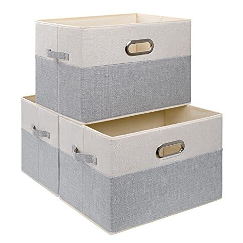 DIMJ Storage Basket for Shelves, 3 Pack Extra Large Closet Storage Bins, Foldable Rectangular Fabric Basket for Clothes, Toys, Home, Beige Grey Jumbo