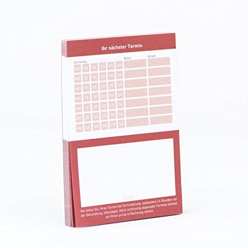10 x Terminblock Terminblöcke Terminzettel nächster Termin für Ärzte, Kosmetiker, Frisör & Co 10 x 50 Blatt (rot)