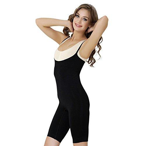 Formeasy Damen Shapewear Formbody mit eigenem BH tragen, Taillenformer mit Bein, stark Formende Unterwäsche mit Bauchweg Effekt - Miederbody Figurformender Body Shaper (M, Schwarz)