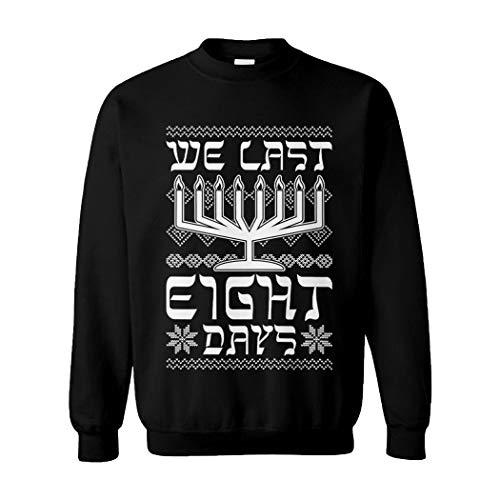 Tcombo We Last Eight Days - 8 Jewish Ugly Hanukkah Unisex Crewneck Sweatshirt (Black, Medium)