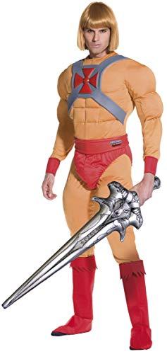 He-Man/Prinz Adam Kostüm Muskel-Jumpsuit mit Gürtel Armmanschetten Überstiefel und aufblasbares Schwert, Large