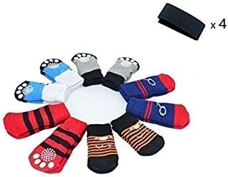RUBYHOME Traction Control Cotton Socks Indoor Dog Nonskid Knit Socks 5 Pack (20 pieces socks), 4 Velcro and Color as picture shown