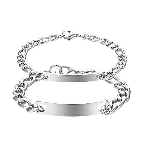JewelryWe Schmuck 2pcs Pärchen Armband mit Gravur, Edelstahl Poliert Figarokette Partnerarmband Freundschaftsarmband Paar Armkette Armreif für Herren Damen, Silber