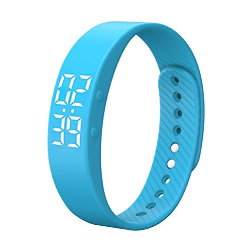 NICERIO T5S Bracelet Watch with Vibrating Realtime Showing Waterproof Smart Wristband LED Screen Fitness Smart Watch (Blue)