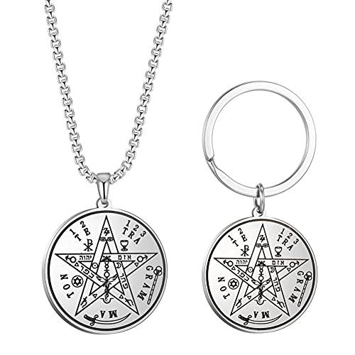 AMOZ Hebreo Esotérico Tetragrammaton Pentagrama de Acero Inoxidable Hombres Colgante Collar Llavero Joyería Llavero,D