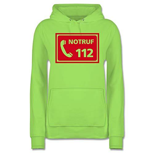 Feuerwehr - Feuerwehr - Notruf - M - Limonengrün - Geschenk - JH001F - Damen Hoodie und Kapuzenpullover für Frauen