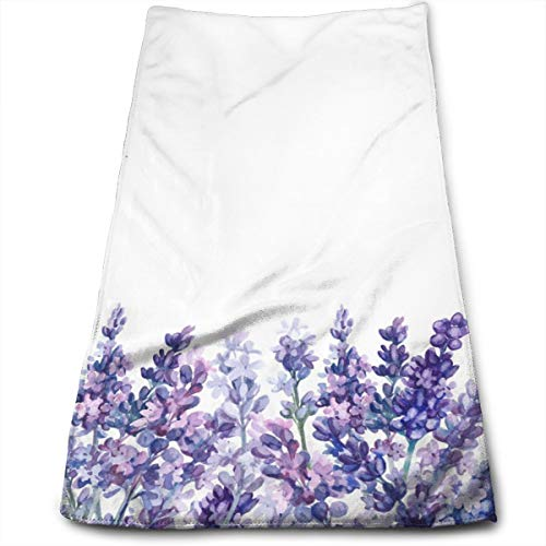 Watercolor Purple Lavender Hand Towels for Bathroom 27.5'' X 12'' Soft Microfiber Towel Beautiful Botanical Flowers Small Bath Towels Kitchen Dish Towel