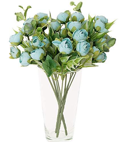 M/ Plantas Artificiales Decorativas Interior y Exterior 3 Ramos Azules de peonias de Tela Aspecto Natural para Decoraciones de Novia jarrones Colores cálidos Toque Realista