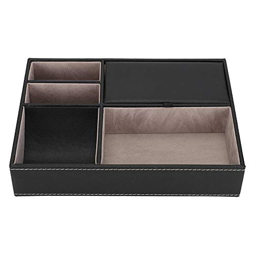 Leatherette Valet Jewelry Tray, Diy 5 Grid Storage Tray Jewellery Jewelry Gift Box Office Supplies Storage Box Holder For Bracelets Glasses Gifts For Girls Women