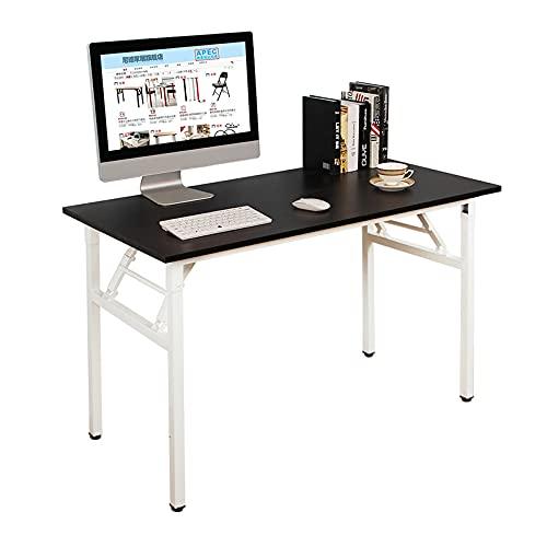 DlandHome Mesa Plegable Mesa de Ordenador Escritorio de Oficina 120x60cm Mesa de Estudio Puesto de Trabajo Mesas de Recepción Mesa de Formación,Negro/Blanco