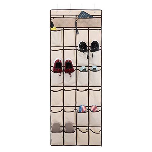 Zapatero Caja de almacenamiento de zapatos que cuelga en la puerta 24 bolsillos de malla grande con 4 ganchos para el almacén de zapatos de armario de dormitorio, (62x 21.9) pulgadas, fuera de color Z