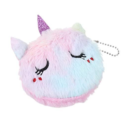 TENDYCOCO 1 Piezas de Peluche de Dibujos Animados Lindo Monedero Unicornio Gato Bolsa de Cambio pequeña Billetera Tarjetero para Mujeres niñas