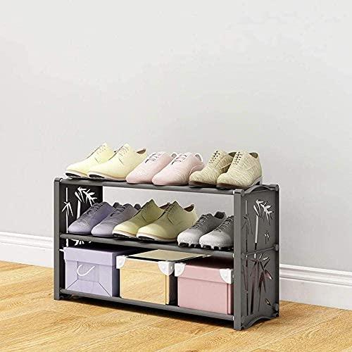 ZAIHW Zapatero Tres Capas Simple Hogar Dormitorio Puerta Pasillo Ensamblaje Zapatos Patrón Transpirable a Prueba de Polvo 60x19x35cm Taburete para Cambiar Zapatos (Color: Negro)